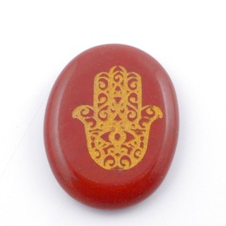 37660-15 OVAL 34 X 23 MM RED JASPER STONE WITH HAMSA SYMBOL