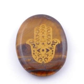 37660-09 OVAL 34 X 23 MM TIGER'S EYE STONE WITH HAMSA SYMBOL