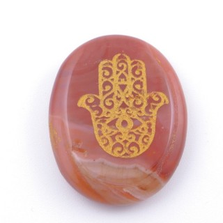 37660-07 OVAL 34 X 23 MM CARNELIAN STONE WITH HAMSA SYMBOL