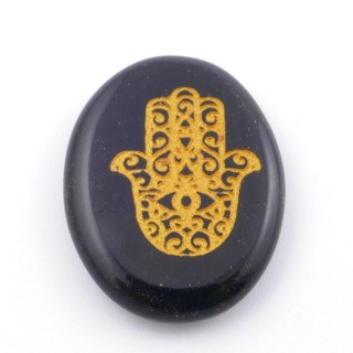 37660-04 OVAL 34 X 23 MM ONYX STONE WITH HAMSA SYMBOL