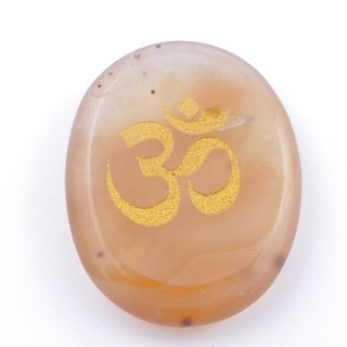 37662-86 OVAL 34 X 23 MM CALCITE STONE WITH OM SYMBOL