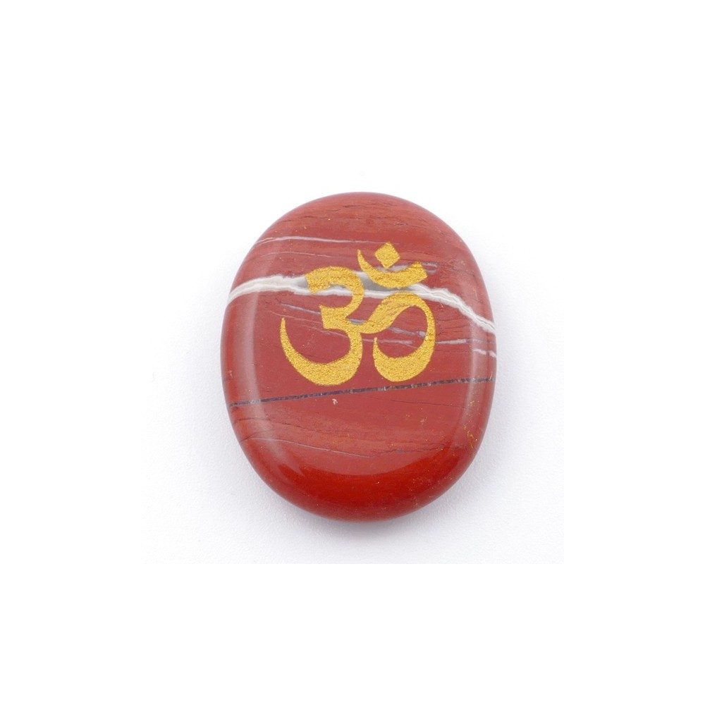 37662-15 OVAL 34 X 23 MM RED JASPER STONE WITH OM SYMBOL