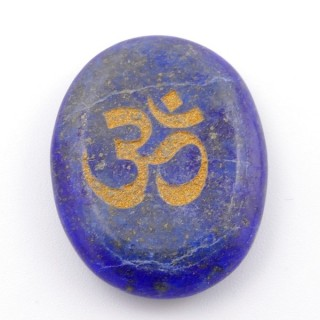 37662-13 OVAL 34 X 23 MM LAPIS LAZULI STONE WITH OM SYMBOL