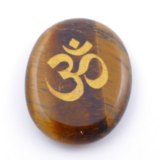 37662-09 OVAL 34 X 23 MM TIGER'S EYE STONE WITH OM SYMBOL
