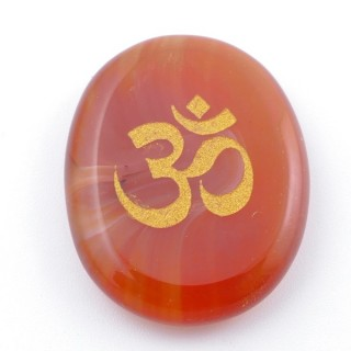 37662-07 OVAL 34 X 23 MM CARNELIAN STONE WITH OM SYMBOL
