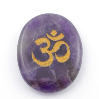 37662-05 OVAL 34 X 23 MM AMETHYST STONE WITH OM SYMBOL