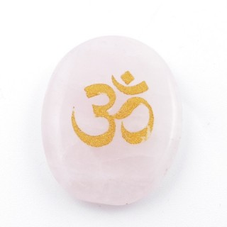 37662-02 OVAL 34 X 23 MM ROSE QUARTZ STONE WITH OM SYMBOL