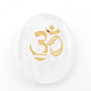 37662-01 OVAL 34 X 23 MM WHITE QUARTZ STONE WITH OM SYMBOL