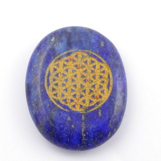 37663-13 OVAL 34 X 23 MM LAPIS LAZULI STONE WITH FLOWER OF LIFE SYMBOL