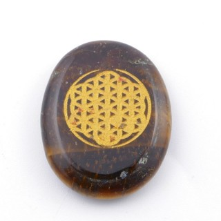 37663-09 OVAL 34 X 23 MM TIGER'S EYE STONE WITH FLOWER OF LIFE SYMBOL
