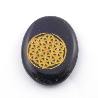 37663-04 OVAL 34 X 23 MM ONYX STONE WITH FLOWER OF LIFE SYMBOL