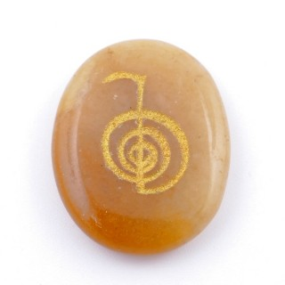 37664-86 OVAL 34 X 23 MM CALCITE STONE WITH CHO KU REI SYMBOL