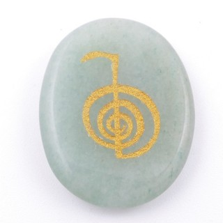 37664-12 OVAL 34 X 23 MM GREEN AVENTURINE STONE WITH CHO KU REI SYMBOL