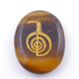 37664-09 OVAL 34 X 23 MM TIGER'S EYE STONE WITH CHO KU REI SYMBOL