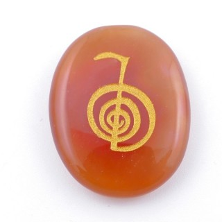 37664-07 OVAL 34 X 23 MM CARNELIAN STONE WITH CHO KU REI SYMBOL