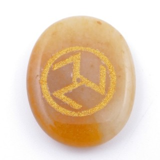 37665-86 OVAL 34 X 23 MM CALCITE STONE WITH ANTAHKARANA SYMBOL