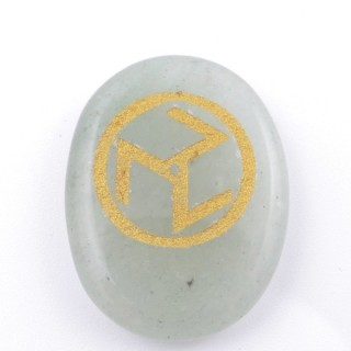 37665-12 OVAL 34 X 23 MM GREEN AVENTURINE STONE WITH ANTAHKARANA SYMBOL
