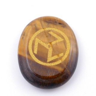 37665-09 OVAL 34 X 23 MM TIGER'S EYE STONE WITH ANTAHKARANA SYMBOL