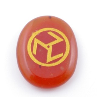 37665-07 OVAL 34 X 23 MM CARNELIAN STONE WITH ANTAHKARANA SYMBOL
