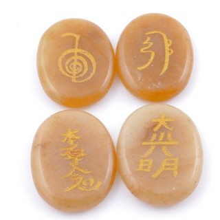 3798686 PACK OF 4 OVAL 30 X 24 MM CALCITE STONES WITH REIKI SYMBOLS