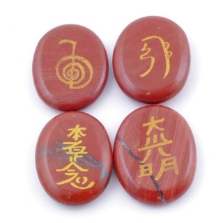 37976-15 PACK OF 4 OVAL 30 X 24 MM RED JASPER STONES WITH REIKI SYMBOLS