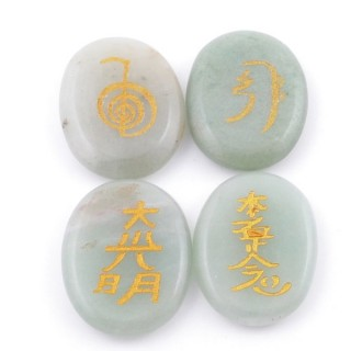 3798612 PACK OF 4 OVAL 30 X 24 MM AVENTURINE STONES WITH REIKI SYMBOLS