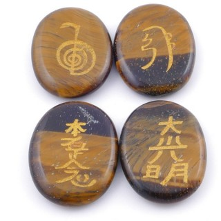 3798609 PACK OF 4 OVAL 30 X 24 MM TIGER'S EYE STONES WITH REIKI SYMBOLS