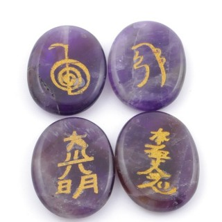 3798605 PACK OF 4 OVAL 30 X 24 MM AMETHYST STONES WITH REIKI SYMBOLS