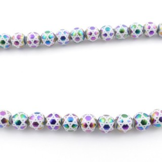 49392-01 30 CM LONG STRING OF 8 MM GLASS BEADS WITH DESIGN