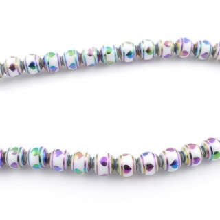 49392-02 30 CM LONG STRING OF 8 MM GLASS BEADS WITH DESIGN