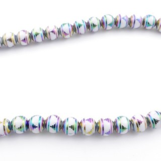 49392-04 30 CM LONG STRING OF 8 MM GLASS BEADS WITH DESIGN