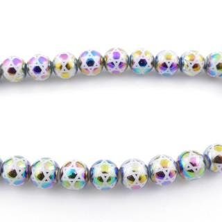 49393-01 30 CM LONG STRING OF 10 MM GLASS BEADS WITH DESIGN