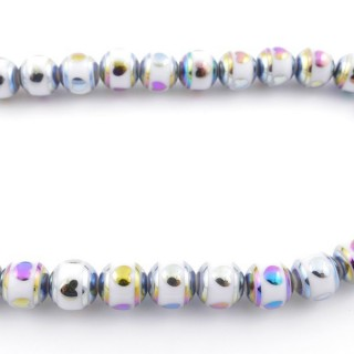 49393-02 30 CM LONG STRING OF 10 MM GLASS BEADS WITH DESIGN