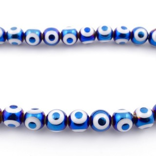 49393-03 30 CM LONG STRING OF 10 MM GLASS BEADS WITH DESIGN