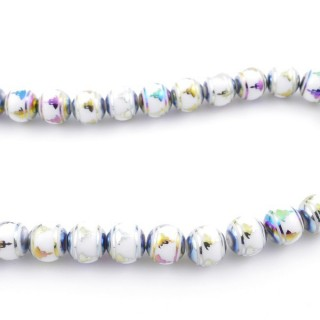 49393-04 30 CM LONG STRING OF 10 MM GLASS BEADS WITH DESIGN