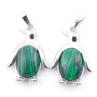 49009-06 PACK OF 2 FASHION JEWELRY METAL 32 X 22 MM PENGUIN PENDANTS WITH STONE IN MALACHITE