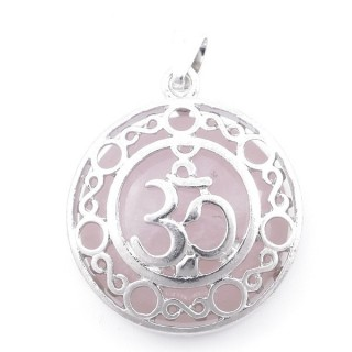 49352-02 METAL FASHION JEWELRY 27 MM PENDANT WITH OM SYMBOL AND STONE IN ROSE QUARTZ