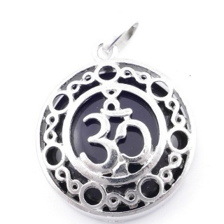 49352-04 METAL FASHION JEWELRY 27 MM PENDANT WITH OM SYMBOL AND STONE IN ONYX