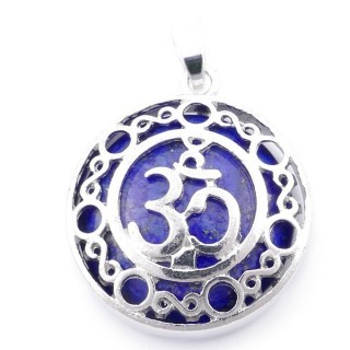 49352-13 METAL FASHION JEWELRY 27 MM PENDANT WITH OM SYMBOL AND STONE IN LAPIS LAZULI