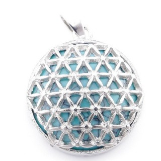 49353-03 METAL FASHION JEWELRY 27 MM PENDANT WITH FLOWER OF LIFE SYMBOL AND STONE IN TURQUOISE