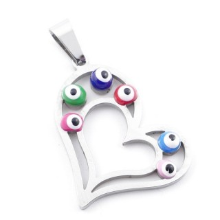 39181-01 STAINLESS STEEL 26 X 24 MM PENDANT WITH EVIL EYE