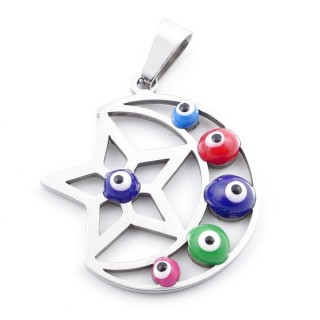 39181-02 STAINLESS STEEL 26 X 22 MM PENDANT WITH EVIL EYE