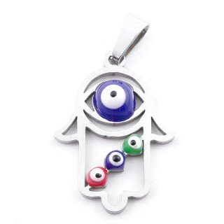 39181-04 STAINLESS STEEL 26 X 18 MM PENDANT WITH EVIL EYE