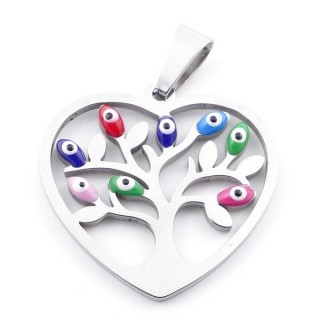 39181-05 STAINLESS STEEL 23 X 24 MM PENDANT WITH EVIL EYE