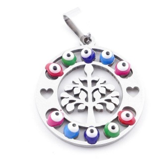 39181-11 STAINLESS STEEL 23 MM PENDANT WITH EVIL EYE
