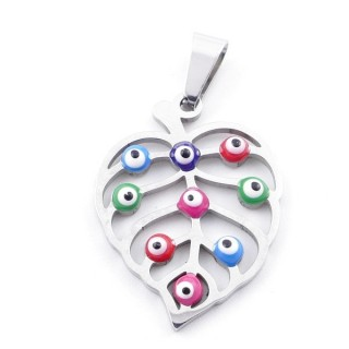 39181-13 STAINLESS STEEL 25 X 19 MM PENDANT WITH EVIL EYE