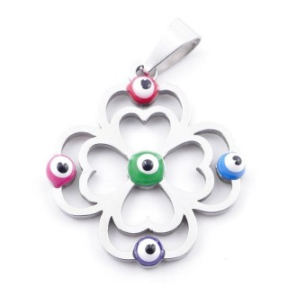 39181-16 STAINLESS STEEL 26 X 23 MM PENDANT WITH EVIL EYE