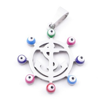 39181-18 STAINLESS STEEL 23 MM PENDANT WITH EVIL EYE
