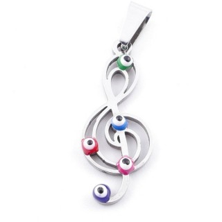 39181-20 STAINLESS STEEL 28 X 11 MM PENDANT WITH EVIL EYE
