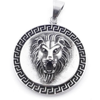 49292-02 ROUND SHAPED 42 MM STAINLESS STEEL PENDANT WITH LION MOTIF